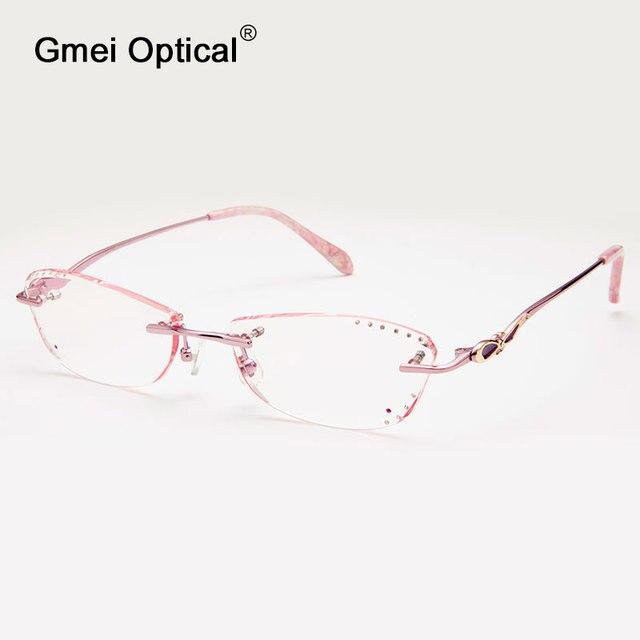 Gmei Optical Q5813 Rimless Diamond Cutting Eyeglasses Frame for Women Eyewear Glasses