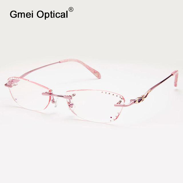 Gmei Q5813 Sem Aro Óptico Óculos Moldura para Mulheres Óculos Óculos de Diamante De Corte