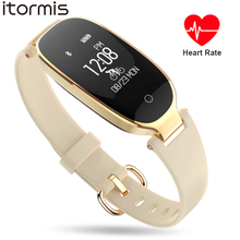 ITORMIS Women SmartBand Smart Fitness Bracelet X1 Fashion Gold Luxury Wrist Band Heart Rate Monitor Waterproof for IOS Android