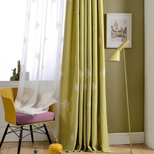 Curtains Window Yarn Thickened Monochrome Muslin for Living Room and Bedroom Study