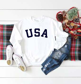 Skuggnas New Arrival USA Sweatshirt 70s US Clothing Gift Patriot and university students gift Long Sleeve Fashion Jumper