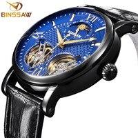 BINSSAW новые автоматические механические часы люксовый бренд Черный Tourbillon повседневные кожаные водонепроницаемые спортивные часы Relogio Masculino