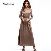 Sedlkova Sonbahar Elbise/Seksi Kadın Zarif Vintage Parti Kaftan Abaya Uzun Elbise Takım Elbise/Kız Patenci Kat Uzunluk Rahat Maxi Elbise