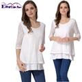 Emoção mães falsos 2 peças lace tops para as mulheres grávidas aleitamento materno maternidade roupas de enfermagem t-shirt de enfermagem clothing