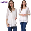 Emotion Moms False 2 Pieces Lace Maternity Clothes Nursing tops for Pregnant Women Breast feeding T-shirt Nursing Clothing