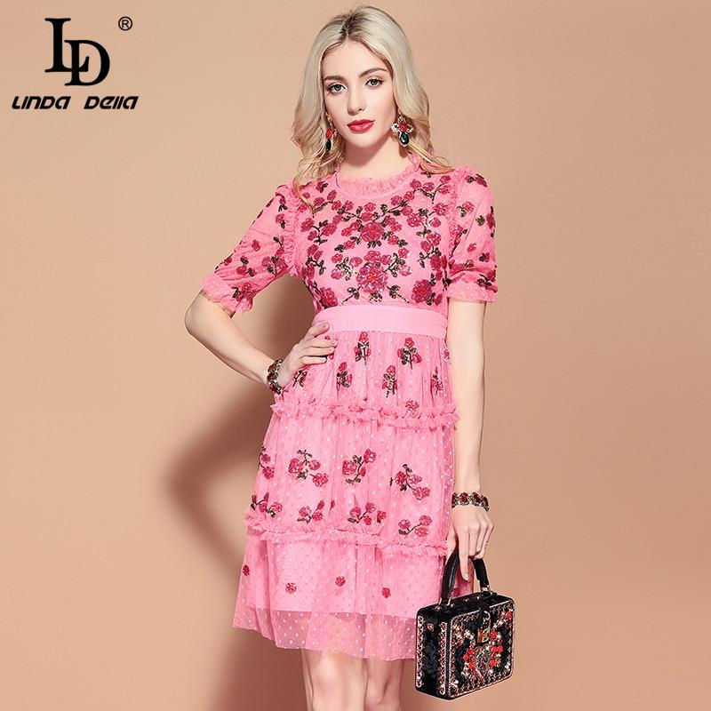 LD LINDA DELLA Pink Mesh Dress 2019956110