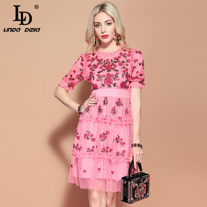 LD LINDA DELLA 2019 Fashion Runway letnia sukienka na co dzień kobiety z krótkim rękawem różowy Mesh holiday Party elegancka cekinowa sukienka Vestido w Suknie od Odzież damska na  Grupa 1