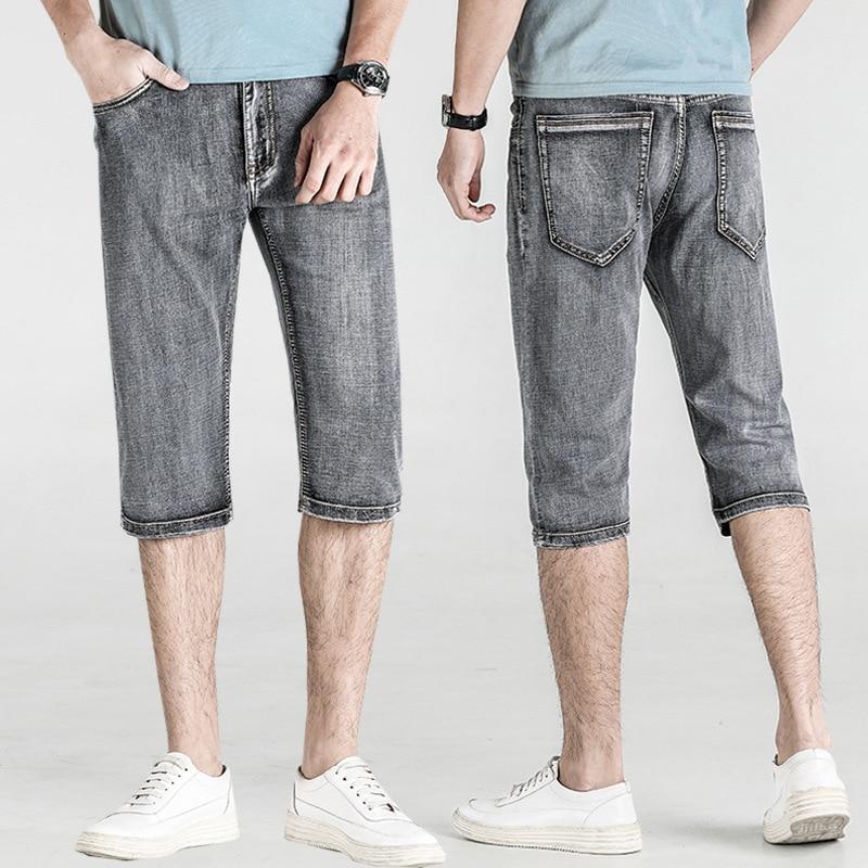 New Fashion Summer Grey Men's Calf-Length Pants Denim Shorts Men's Jeans Slim Retro Button Casual Shorts Male