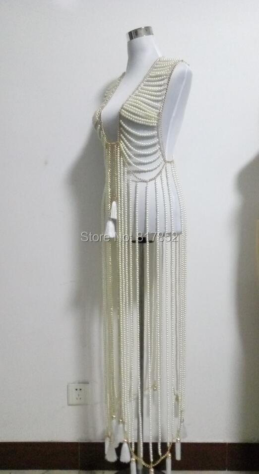 W nowym stylu mody kobiet złoty kolor łańcuchy warstwy sztuczna perły koraliki już sukienka ciało łańcuchy biżuteria WRB26 w Biżuteria do ciała od Biżuteria i akcesoria na  Grupa 3