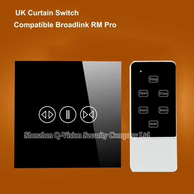 UK Wireless Remote Control Touch Wall Curtain Switch Crystal Glass Panel RF433MHZ by Broadlink RM2 RM Pro Geeklink RemoteBox 3S