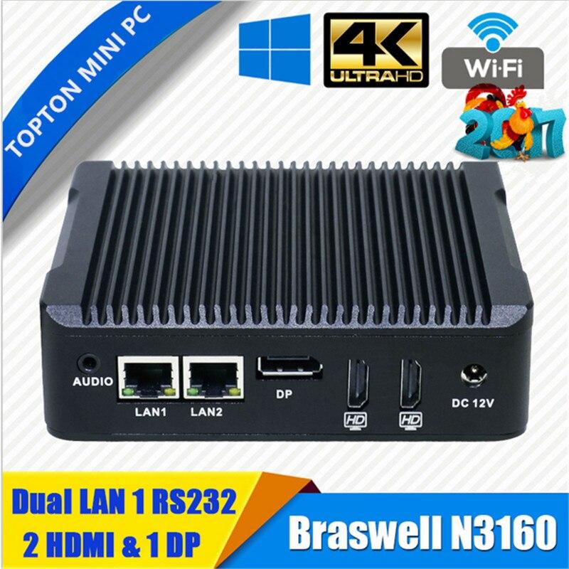 Topton Mini PC Windows 10 Intel V7 N3160 Fanless Barebone Mini Computer 2 Lan HDMI 4K HTPC TV Box Nano Industrial Mini PC VESA