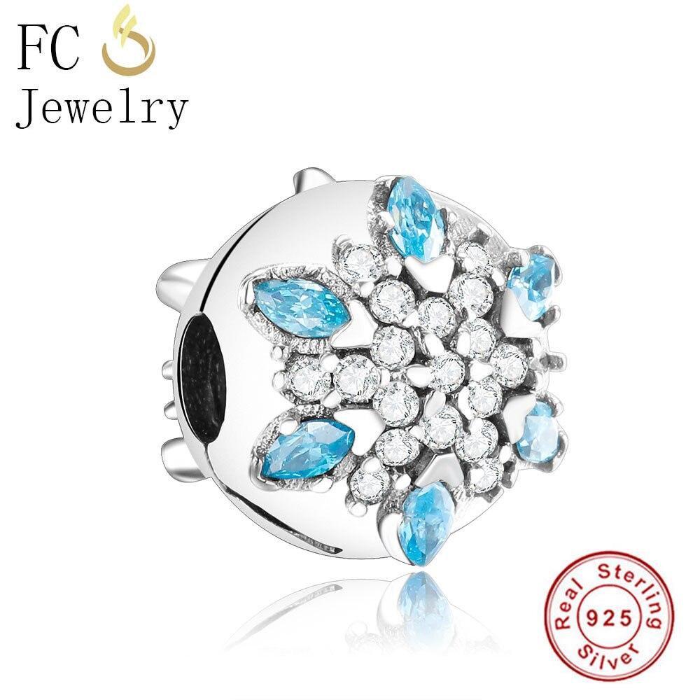 FC Jewelry Authentic 925 Sterling Silver Flower European Clip Lock Stopper Fit Original Pandora Bracelets Charms Wholesale Diy