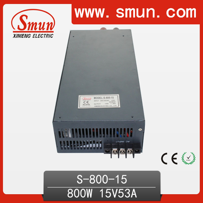 high efficiency 800w 12v ac dc switching power supply Single Output AC/DC High Efficiency 800W Switching Mode Power Supply 15VDC 53A LED Driver Voltage Transformer