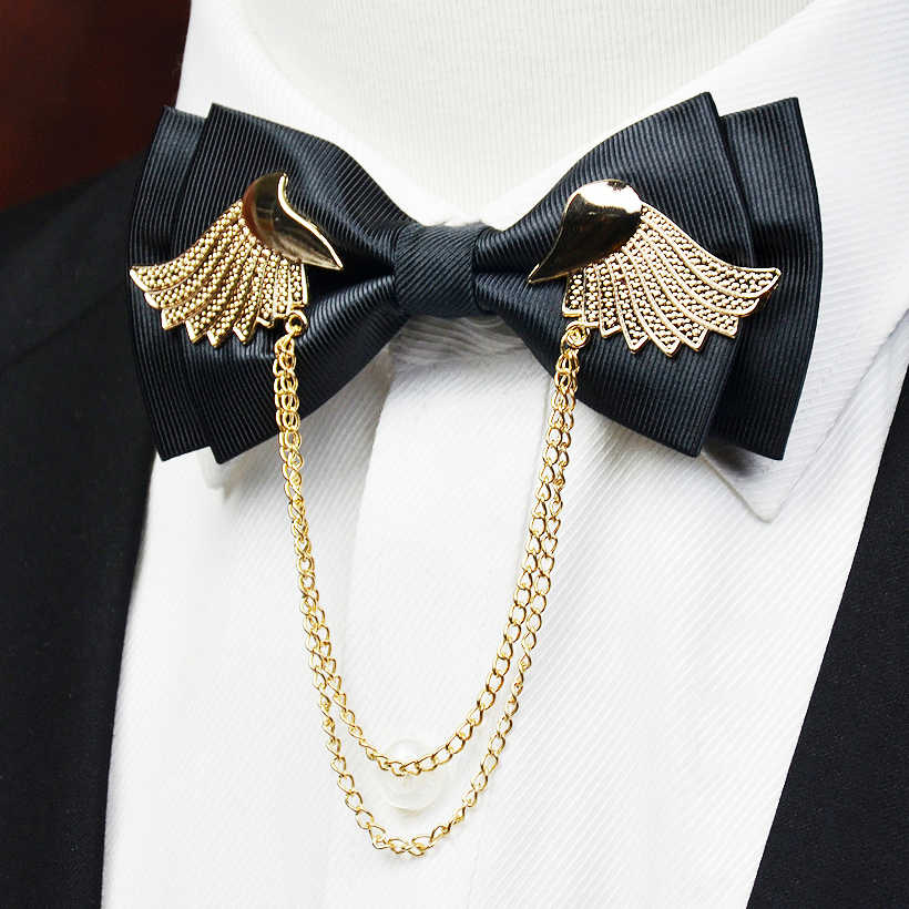 275832e083e3 2016 Designers Brand Metal Golden Wings Bow Tie Men Double Layer Bowtie  Wedding Casamento Gravata Borboleta