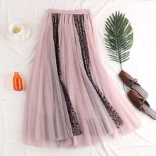 Mesh Skirts Women 2019 Spring Summer Elastic High Waist Midi Skirt jupe tulle femme Pleated Skirt недорго, оригинальная цена