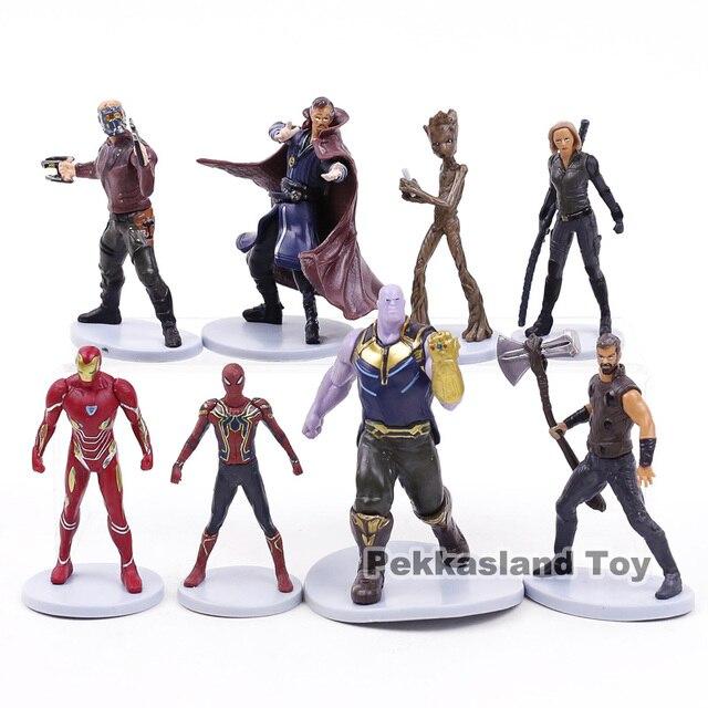 נוקמי מלחמת אינסוף תאנסו Thor ספיידרמן איש ברזל כוכב אדון שחור אלמנה רופא מוזר עץ איש PVC דמויות צעצועי 8 יח'\סט