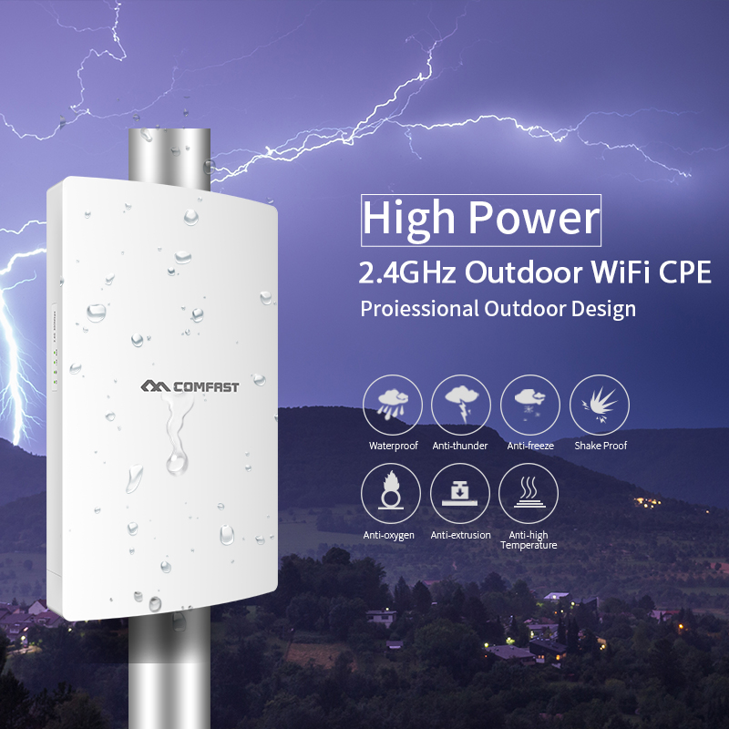High power Outdoor wifi Repeater Wireless wi-fi Range Extender Amplifier 2.4G Waterproof 19dBm 802.11 b/g/n/ Wifi Router/AP WISP