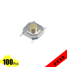 100 pieces/lot touch tact switch 5.2*5.2*2.5mm 4 PIN Metal Tactile 12V Micro SMT Push Button Switch High-Quality