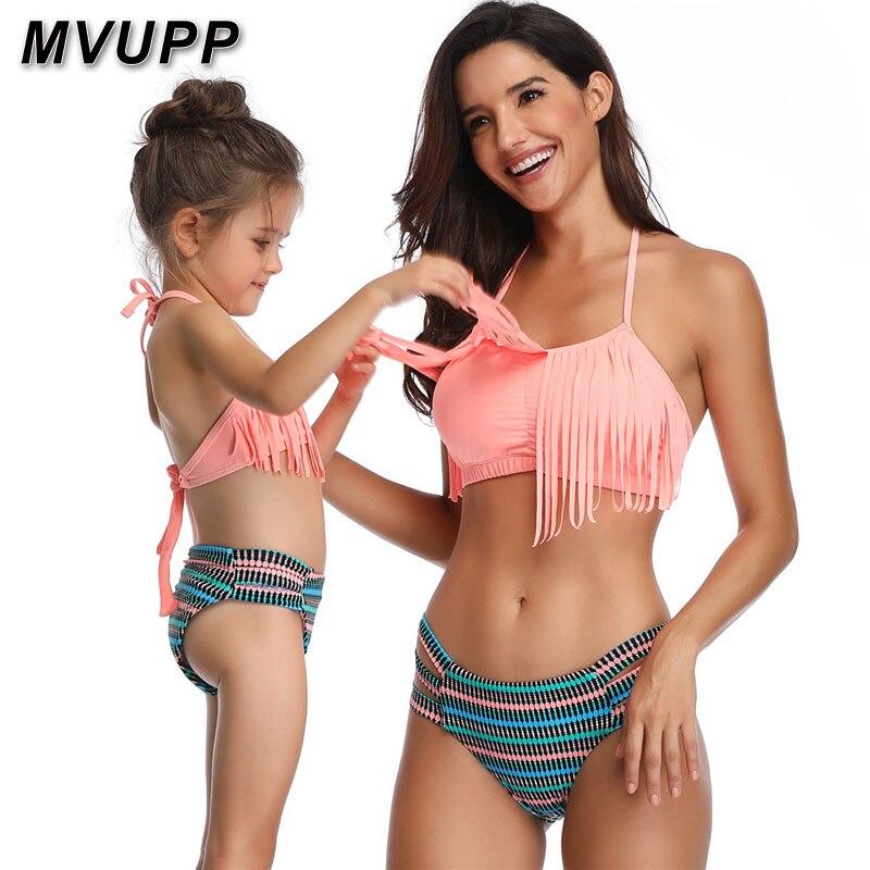 Family Mom Girl Matching Swimsuits Women Little Girl Swimwear Beachwear Tassels Women Bikini Set Summer Clothing Striped Pants