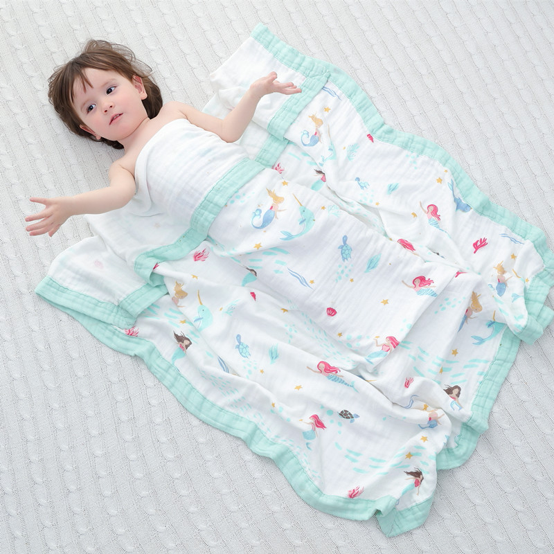 mermaid muslin quilt four layer bamboo baby muslin blanket  Muslin Tree swaddle better than Aden Anais Baby/Blanket Infant Wrap