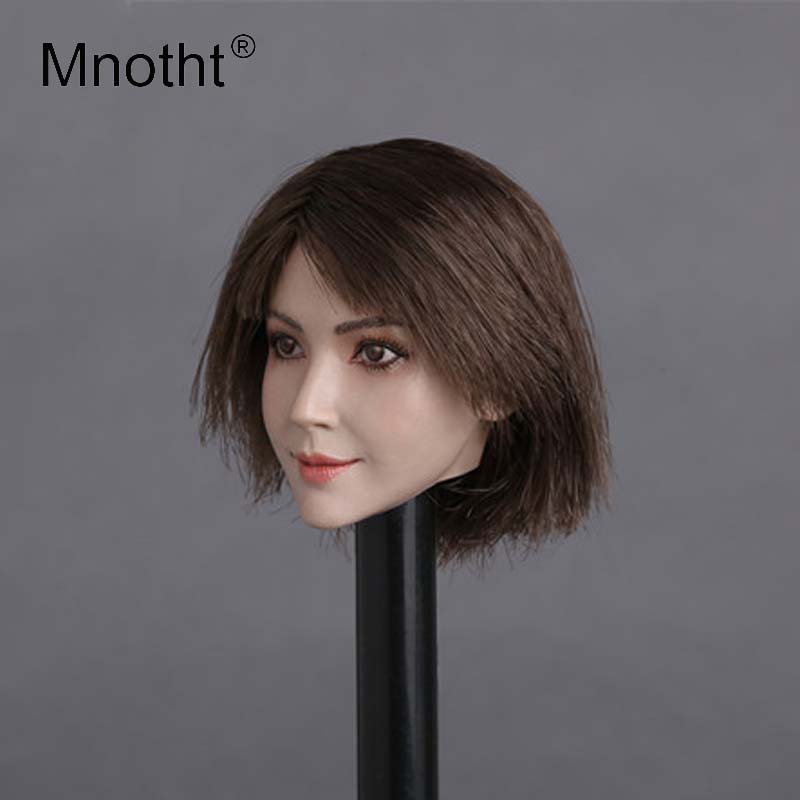 Mnotht Toys 1:6 Asian Beauty Female Head Sculpt model With Hair GC011 Head Carving Toys for 12in PH Glue Body Action Figures m3 mnotht toys 1 6 vivian hsu head sculpt female asian beauty head carving model fit for 12in ph ht female soldier body m3