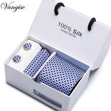Brand 7.5cm Classic Men Tie Business Wedding Striped For Man Gift Set Tie,Handkerchief,Cufflinks  in 1 Box