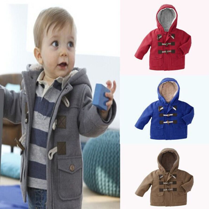 c46c1c94d18 Baby Boys Jacket Winter Clothes 2 Color Outerwear Coat Cotton Thick Kids  Clothes Children Clothing Hooded 1-5 Ages Horns Buckle