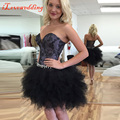 2016 Fashion Little Black Cocktail Dresses Sweetheart Off the Shoulder Tulle with Beading A-Line Special Occasion Dresses p02