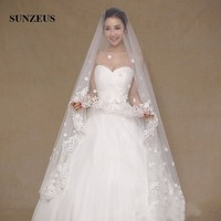 2.5 Meters Luxurious Wedding Veils for Bridal Lace Edge with Flowers and Beaded Wedding Accessories Voile Mariage SV03