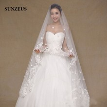3 Meters Luxurious Wedding Veils for Bridal Lace Edge with Flowers and Beaded Wedding Accessories Voile Mariage SV03