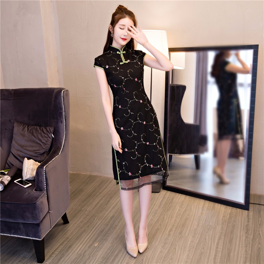 Black Short Vietnam ao dai Lace Chinese traditional dress National Chinese cheongsam dress robe vietnamese ao dai For Woman