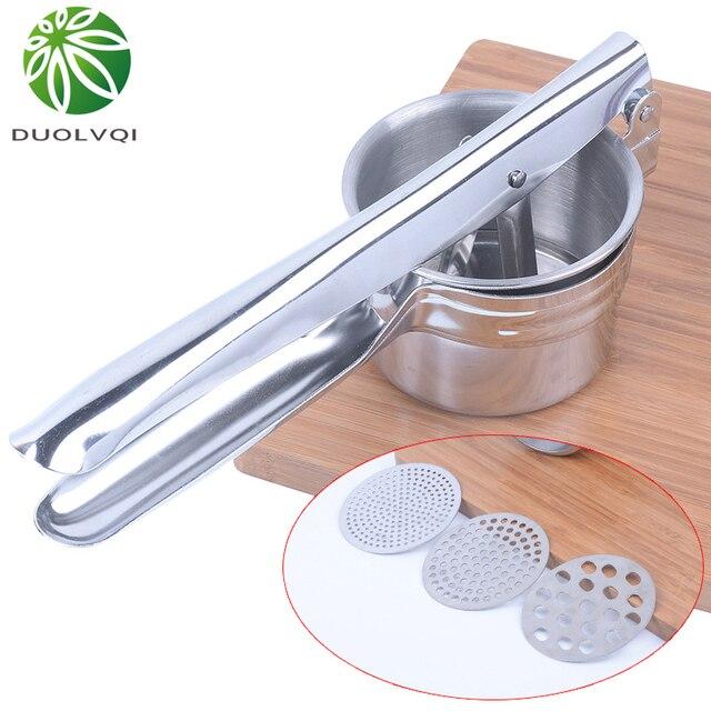Duolvqi из нержавеющей Толкушка и богаче ручная соковыжималка пресс картофель детская пищевая машина для добавок кухонные инструменты
