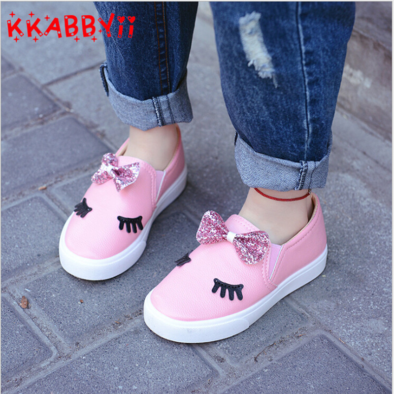 KKABBYII Children Shoes Girls Sneakers New Spring Autumn Cute Bow Fashion Princess Girls Shoes Kids Soft Casual Single Shoes