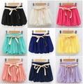 Hot summer Cheap 2015 Womens Shorts cropped Solid beach chiffon lace shorts women crochet  feminina loose culottes mujer