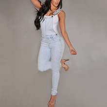 Women Washed Jeans Denim Casual Hole Loose Jumpsuit Romper Overall Bib Pants