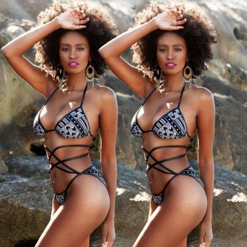 HIRIGIN Brand Polyester Hot Women Bikini Set Swimwear Female Push-Up Padded Bra Bandage Stylish Beachwear US Stock costumi moda 2019