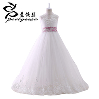 Hot Sale Real Pics Lace Appliques Flower Girl Dress For Wedding Floor Length With Bow Back
