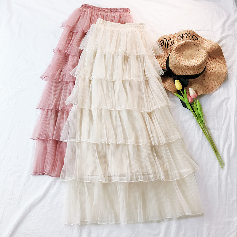 Cake skirt new 2019 temperament mesh sexy skirt female long section multi layer cake skirt Korean version of the high waist skir in Skirts from Women 39 s Clothing