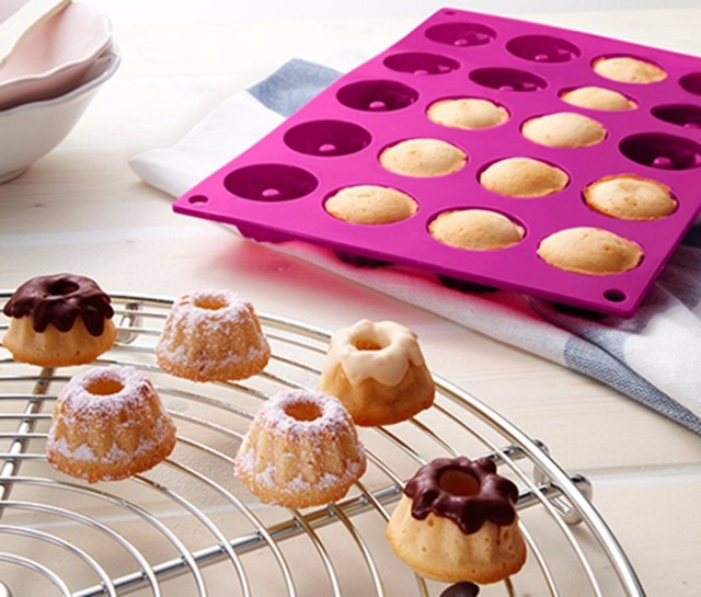 20-Cavity Germany Mini Fancy Bundt Savarin Cake Pan Silicone Mold Pudding Chocolate Bakeware Chiffon Mould