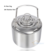 6L Ball Lock homebrew beer Corny Keg 304 stainless steel cornelius kegs, Pepsi kegs, soda wine barrel with metal handles