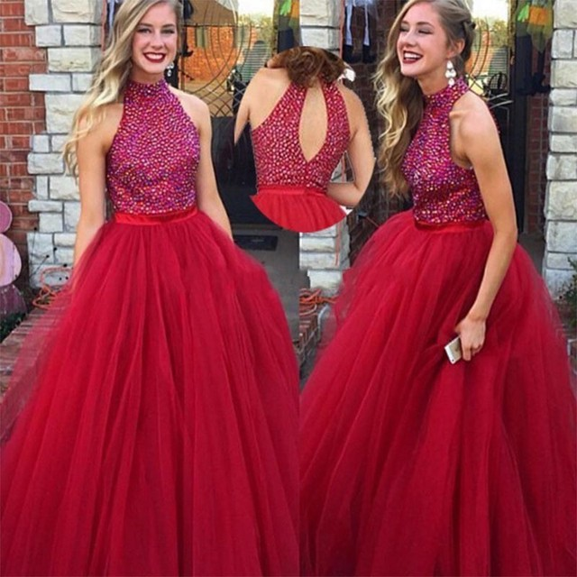 Red Long Prom Dresses 2017 kleider Sexy Pearls A Line Halter Women ...