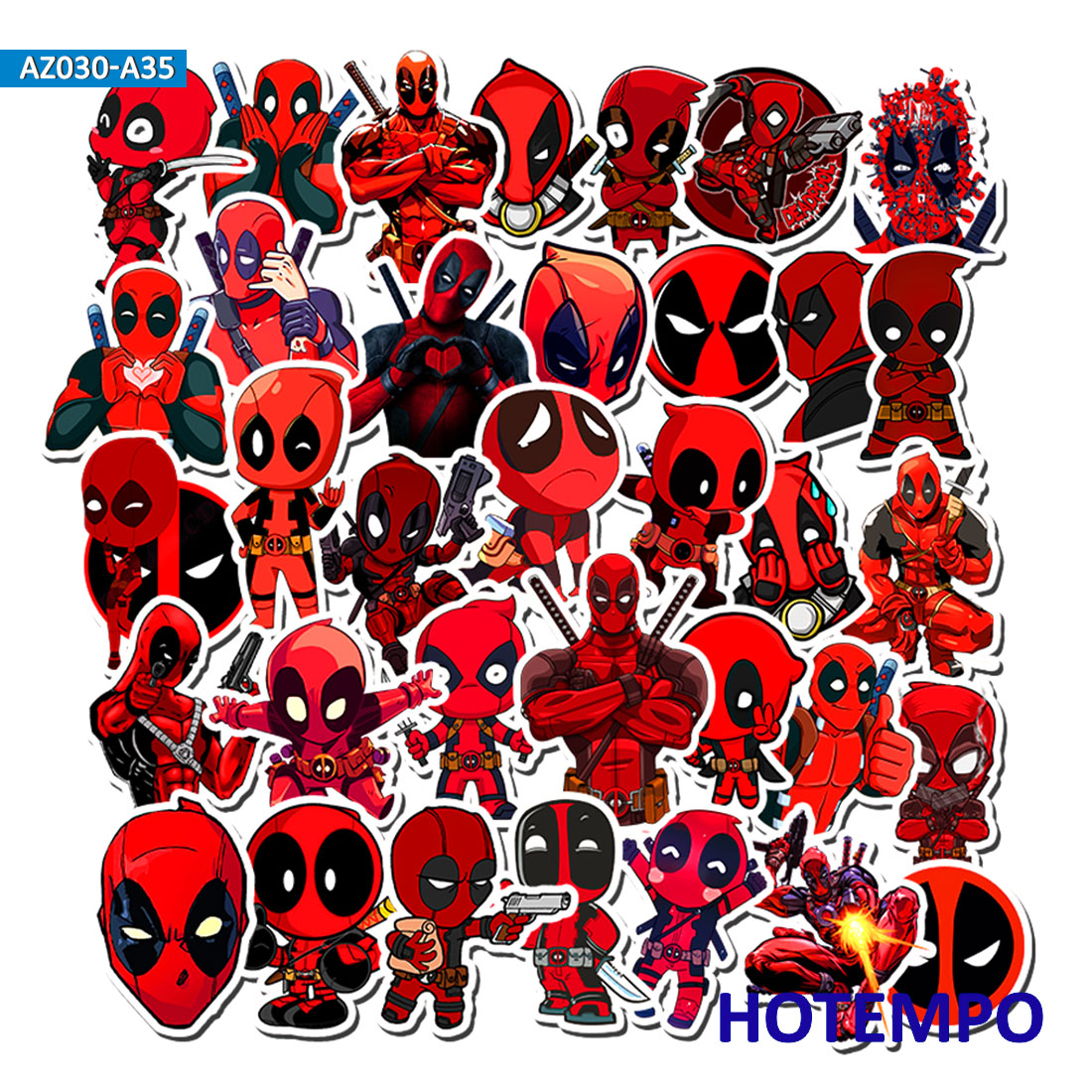 35pcs Marvel Deadpool Super Hero Stickers For Mobile Phone Laptop Luggage Suitcase Guitar Skateboard Bicycle Decal Stickers