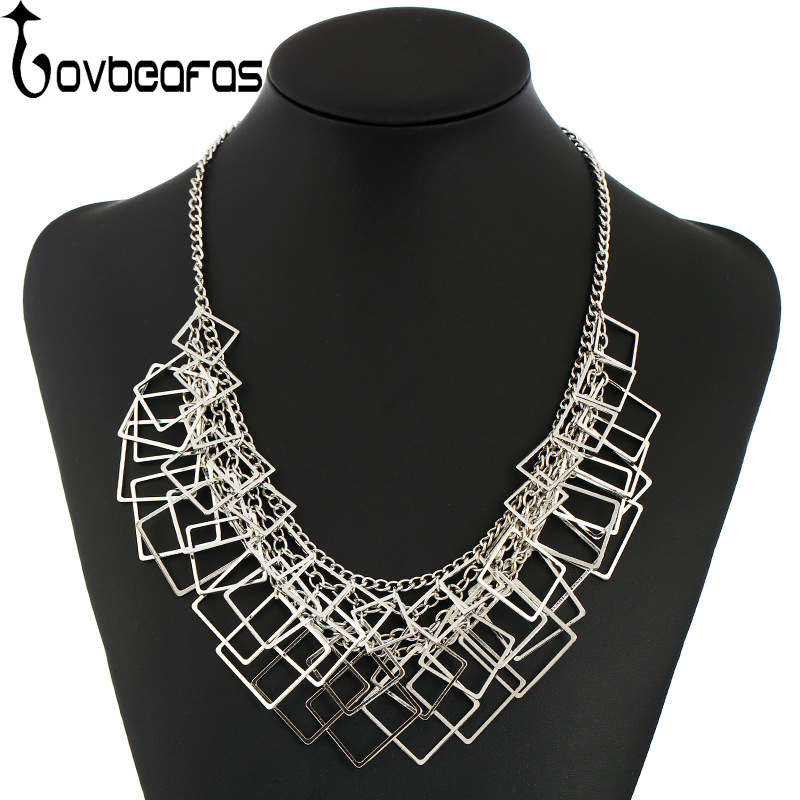 LOVBEAFAS 2017 Fashion Geometric Square Statement Choker s