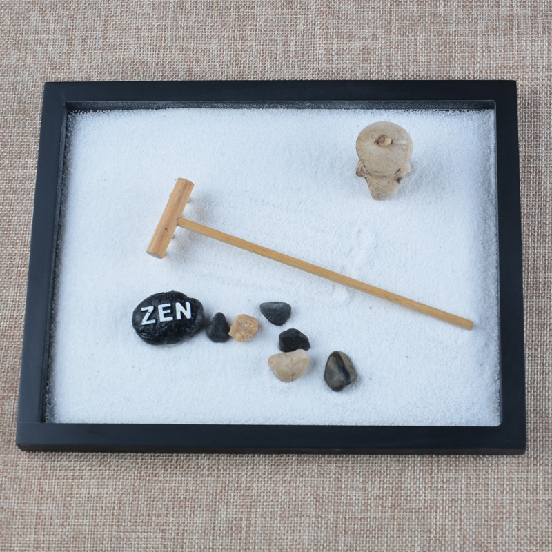 2017 Fashion Wood Craft Zen Garden Sand Box Rake Pebble Decor Office Feng  Shui Ornaments Home Decoration Accessories Adult Gift In Bottles, ...