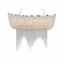 Современные Серебряные подвесные светильники из ткани в форме кисточки, алюминиевые цепи, модные дизайнерские Роскошные цепные лампы, подвесной светильник