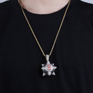 Image 5 - TOPGRILLZ New Iced out Trippieredd Inspired Spike 8 ball Billiard  Pendant Necklace With Tennis Chain Hip hop Jewelry