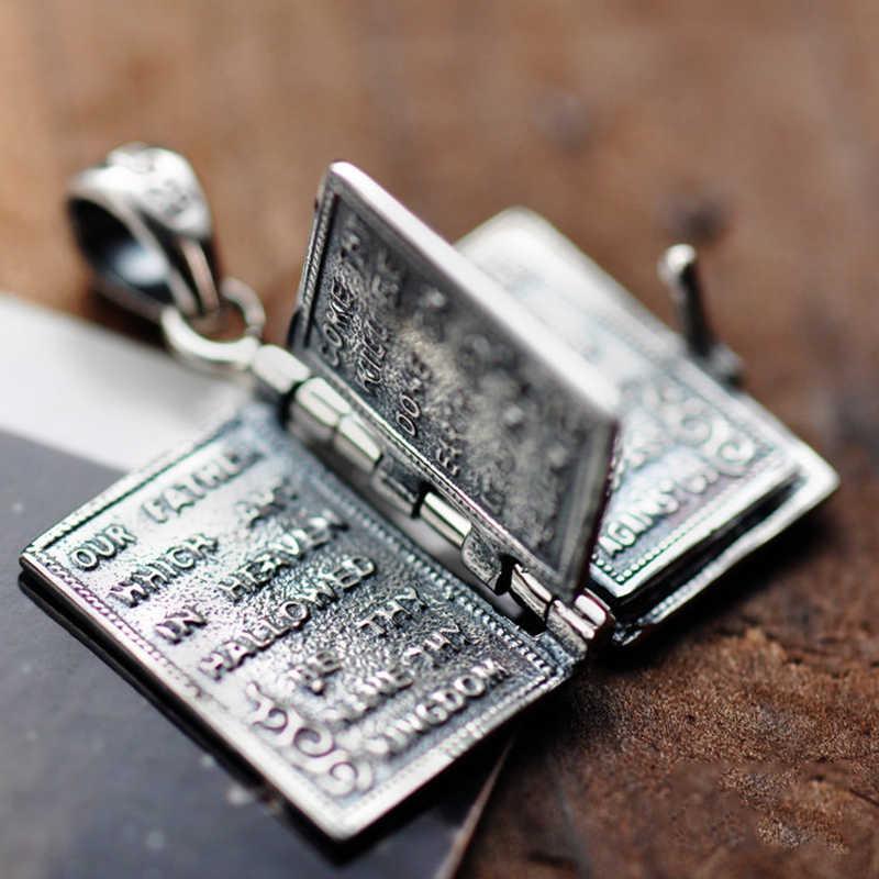 925 เงินสเตอร์ลิง Holy Bible Cross สร้อยคอจี้สำหรับ Man และผู้หญิงประเภทหนังสือแกะสลักแกะสลัก Lord's Prayer ภาษาอังกฤษตัวอักษร