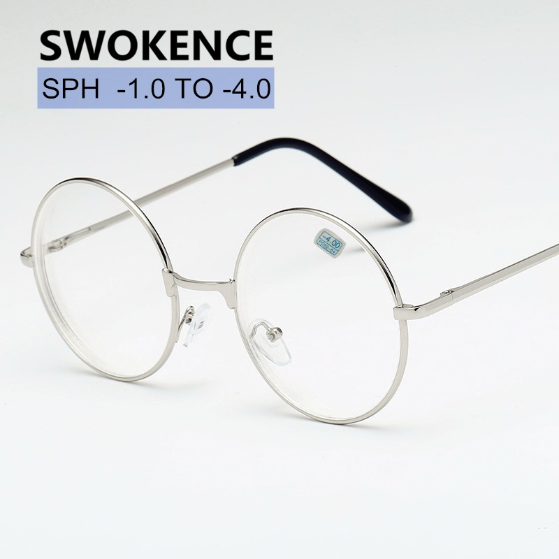 Diopter -1 -1.5 -2 -2.5 -3 -3.5 -4 Finished Myopia Glasses Women Men Fashion Alloy Round Frame Shortsighted Spectacles F178