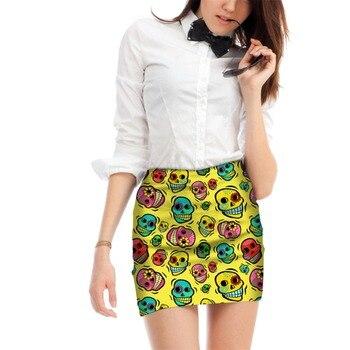 Fashion short skirt lady holographic skull bodycon