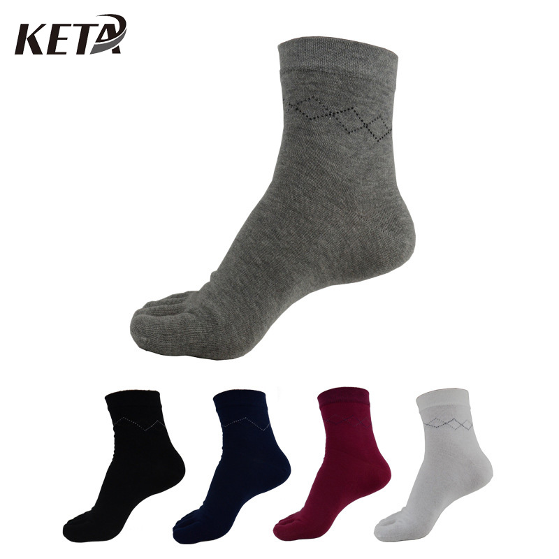 5 Pairs/lot Fashion Men Toe Socks Male Colorful Cotton Five Finger Socks Male Classical Solid Casual Business Dress Socks